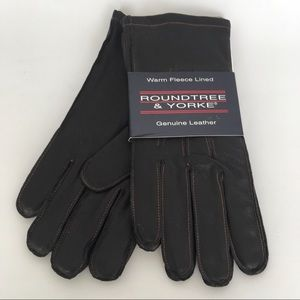 RoundTree & Yorke Fleece Lined Leather Gloves NWT
